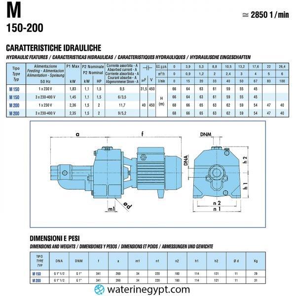 SAER M200 موتور مياه ساير 2 حصان ايطالي